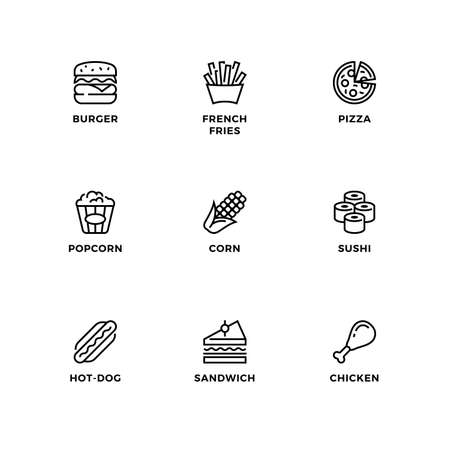 Vector set of design elements, logo design template, icons and badges for fastfood. Line icon set, editable stroke.