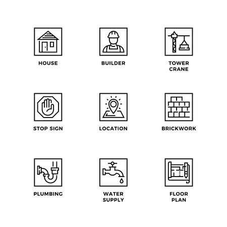 Vector set of design elements, logo design template, icons and badges for construction. Line icon set, editable stroke.