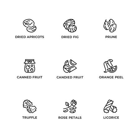 Vector set of design elements, logo design template, icons and badges for cuisine specialties. Line icon set, editable stroke.