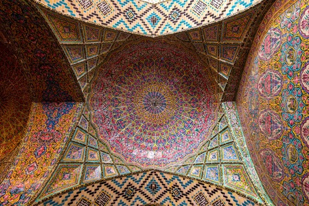 Iran. Shiraz. Nasir al-Mulk Mosque, The colorful stained glass windows are breathtaking.