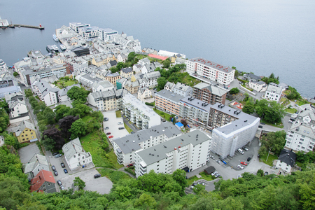View from above on roofs of houses of the city Alesund