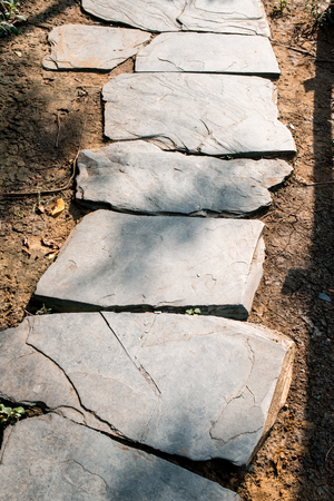stepping: stepping stone walkway in the public park Stock Photo