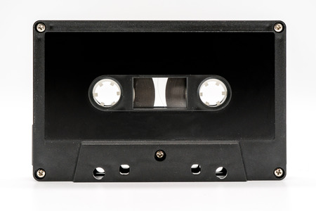 close up of vintage audio tape cassette isolated on white background Stock Photo