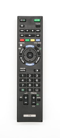 Universal remote control isolated on white background. Old TV remote controller.