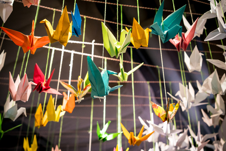 Colorful origami birds fly with rope for display design.