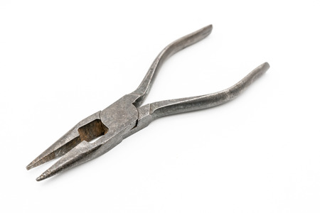 Steel needle nose plier isolated on white background. Old silver metallic squeezer. Repair tool.