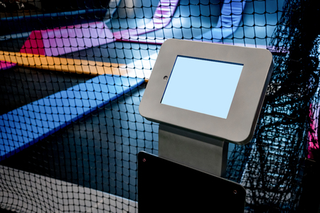 Interconnected trampolines for indoor jumping. New revolution playground and fun activity for all ages.