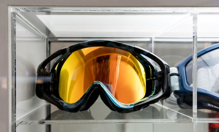 Motocross Goggles on acrylic display at store for sale