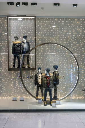 Zara shop at Emquartier Thailand, Dec 17, 2017: fashionable brand window display. Casual kids clothing and showcase in modern style in front of the store.
