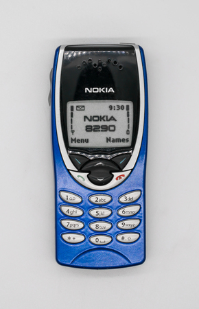 Used Nokia 8290 Mobile Phone. Bangkok, Thailand - Feb 10, 2018:  Nokia 8290 was a variant of the Nokia 8210 designed for the North American market using a single-band GSM-1900. Illustrative, editorial.