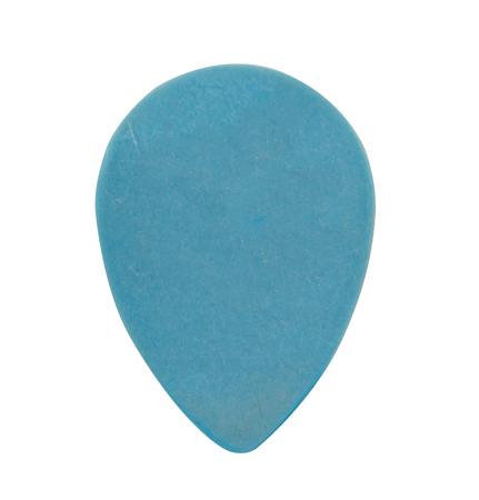Light blue plastic guitar thick or heavy pick isolated on white background.
