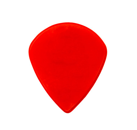 Red plastic guitar thick or heavy pick isolated on white background. Stock Photo