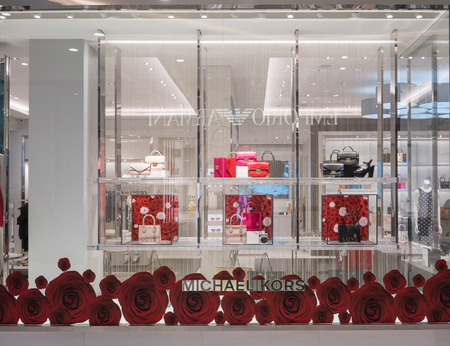 Michael Kors shop at Emquatier, Bangkok, Thailand, Mar 8, 2018 : Luxury and fashionable brand window display. Leather woman bags and shoes in front of the store.