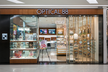 Optical 88 shop at Fashion Island, Bangkok, Thailand, Mar 22, 2018 : New look of optical shop chain interior with variety fashionable brand of  glasses and sunglasses display. Redakční