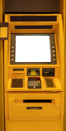 Yellow ATM machines. The station automatic machines. Front view. Banque d'images