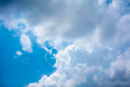 Blue sky with white clouds for background with copy space