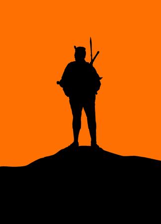 Silhouette of Thai warrior holding sward wearing hat standing in a mountain. Thai fighter