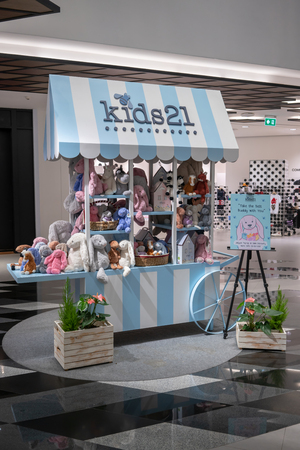 Kids 21 Jellycat pop up shop at Siam Discovery, Bangkok, Thailand, Apr 11, 2018 : Jellycat bunny doll for baby snuggle on beautiful kiosk presented by luxury and fashionable girl clothing brand.