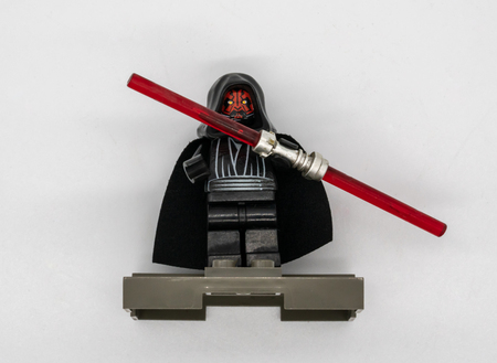 Bangkok, Thailand, Apr 28, 2018 : Darth Maul minifigure isolated on white background. Star Wars character collection by Lego.