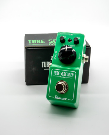 BANGKOK, THAILAND - June 25, 2018 : Ibanez Tube Screamer Mini, overdrive guitar pedal isolated on white background. Illustrative, editorial.