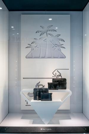 Prada shop at Emquatier, Bangkok, Thailand, Jun 29, 2018 : New collection of luxury and fashionable men handbags showcase at flagship store. Editorial