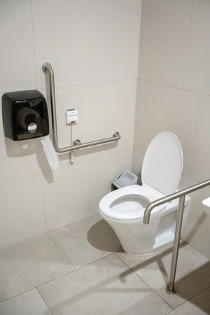 Interior of restroom for elderly senior people with lavatory toilet bowl and handrail