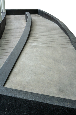 Ramped access, using wheelchair ramp for disabled people. Perspective view Фото со стока