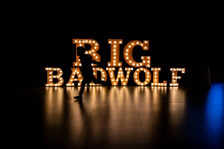 Big Bad Wolf, The biggest book sales in Thailand, Aug 12, 2018 : Big Bad Wolf light letter reception backdrop Editorial