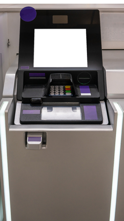 Purple and silver ATM machines. The station automatic machines.