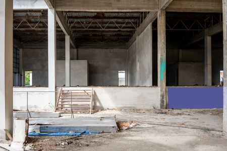 Industrial interior of an old factory building. Abandon building.