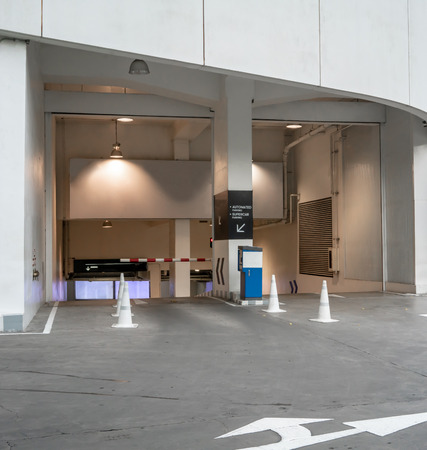 Entrance to underground parking lot with advertising area mock up