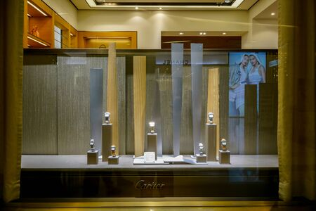 Catier shop at Siam Paragon, Bangkok, Thailand, May 9, 2018 : Luxury and fashionable watch brand window display at the store.