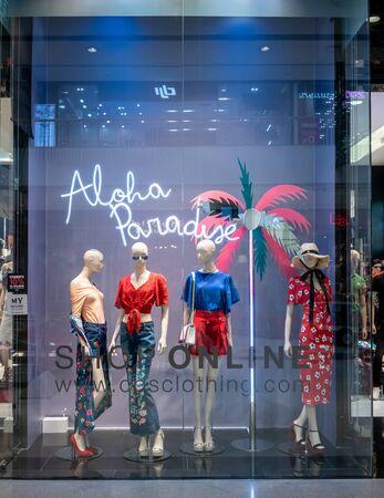 COS shop at Siam Paragon, Bangkok, Thailand, May 9, 2018 : Visual merchandising display of fashionable clothing brand. Editorial