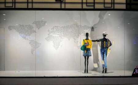 Esp shop at Siam Paragon, Bangkok, Thailand, May 9, 2018 : Fashionable casual clothing and accessories brand window display. Visual merchandising and space. 新闻类图片