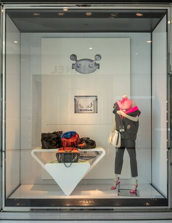 Prada shop at Emquatier, Bangkok, Thailand, Oct 15, 2018 : Luxury and fashionable brand window display. New collection of leather bags at flagship store.