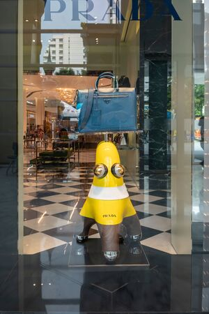 Prada shop at King Power, Bangkok, Thailand, Dec 21, 2018 : Luxury and fashionable brand window display. New collection of bag at flagship store.