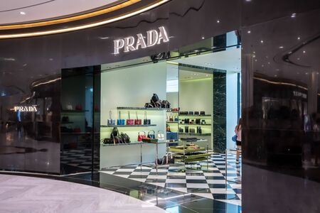 Prada shop at King Power, Bangkok, Thailand, Dec 21, 2018 : Luxury and fashionable brand display. New collection of bags at flagship store. Editorial