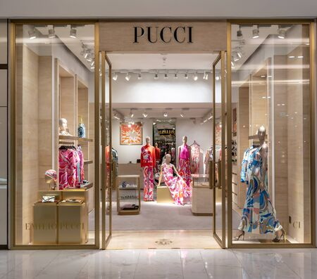 Emilio Pucci shop at Emquatier, Bangkok, Thailand, Feb 3, 2019 : Front store display of casual clothing brand window display.
