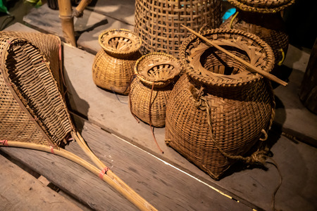 Bamboo Handicraft. Basket wicker is Thai handmade. it is woven bamboo texture for background. Selective focus