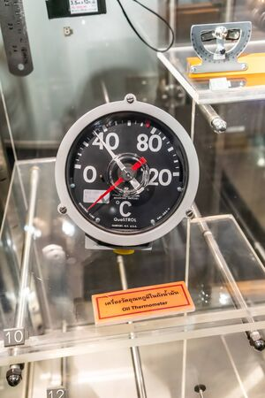 BANGKOK, THAILAND, - Apr 18 2019: Oil Thermometer display in  glass showcase at Science Museum.