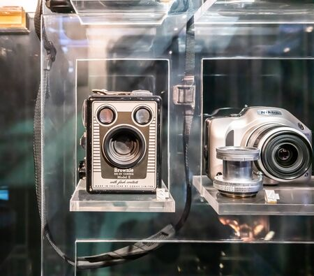 BANGKOK, THAILAND, - Apr 18 2019: The vintage camera (Brownie Six-20 Model E) display in  glass showcase at Science Museum.
