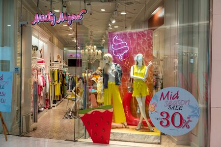 Misty Mynx shop at Emquatier, Bangkok, Thailand, Apr 25, 2019 : Fashionable brand of casual clothings and accessories with flower frame window display. Editorial