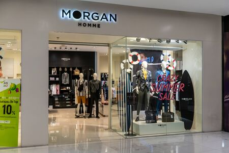 Morgan shop at Emquatier, Bangkok, Thailand, Apr 25, 2019 : Luxury and fashionable brand window display. Casual men clothings and bag showcase in summer style in front of the store.