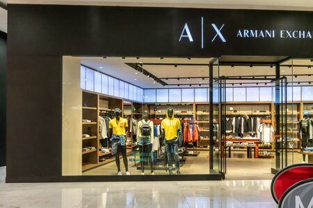 A|X Armani Exchange at Emquartier Thailand, Apr 25, 2019 : Luxury and fashionable brand window display. New collection of sportswear at flagship store.