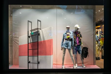 Diesel shop at Emquatier, Bangkok, Thailand, Apr25, 2019 : Luxury and fashionable brand window display. New collection of casual clothings and bags.