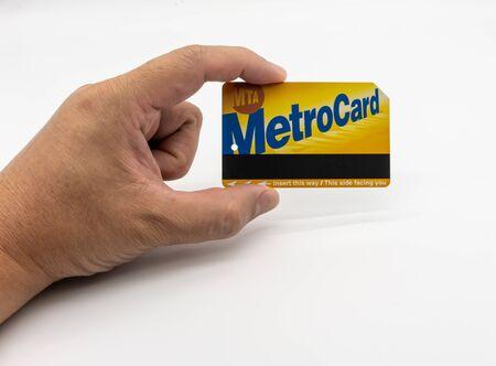 NTC Metro Card. Bangkok, Thailand. May 29, 2019 : NYC MTA Metrocard New York City Subway Train isolated on white background. Editorial