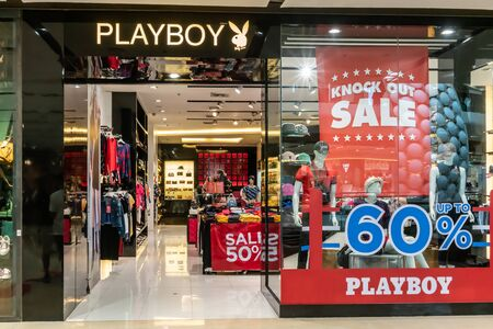 Playboy shop at Central LadPrao Bangkok, Thailand, June 23, 2019 : Casual Fashionable clothing and accessories. A shoot of shop interior and display. Editorial