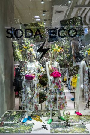 Soda shop at Central Ladprao, Bangkok, Thailand, June 23, 2019 : Luxury and fashionable clothing brand window display. Unique casual woman clothings with pastel color and vintage pattern.