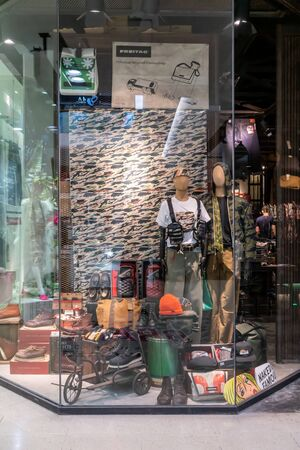Pronto shop at Central Ladprao, Bangkok, Thailand, June 23, 2019 : Fashionable casual apparel and footwear brand window display. Editorial