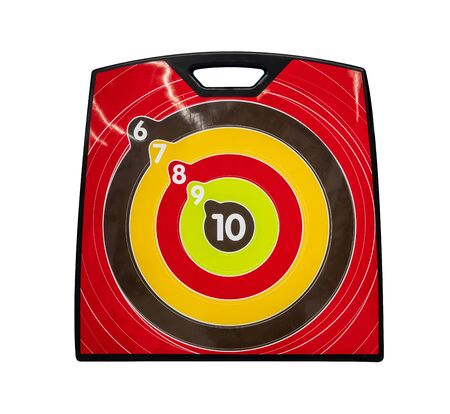 Yellow, brown, and red archery target isolated on white  with path selection.